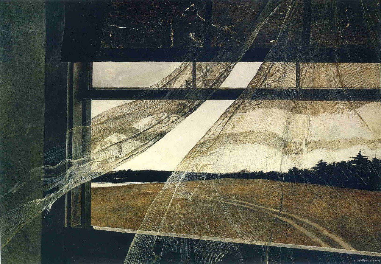 A tattered window curtain is blown inwards in this painting by Andrew Wyeth